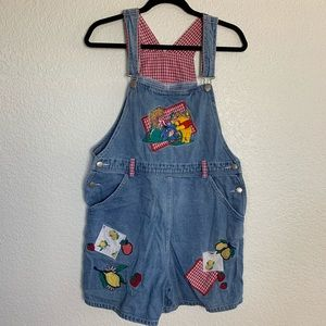 "Vintage ""Pooh's Fruit Stand"" overalls from Disney"